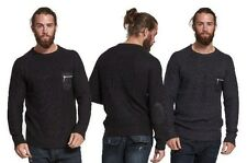 MENS JUMPER CASUAL BRAVE SOUL VULCAN ELBOW PATCH POCKET SWEATER RIB KNITTED TOP