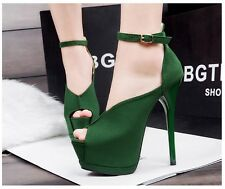 Sexy Womens Platform Stiletto High Heel Pump Peep-Toe Ankle Strap Clubwear Shoes
