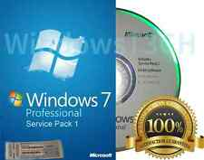 Microsoft Windows 7 Pro  - 64 or 32 Bit Full Version & Upgrade SP1 NEW!