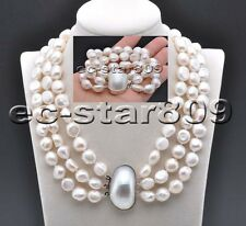 X0488 3Set Strds 14mm White Baroque Freshwater PEARL NECKLACE & bracelet