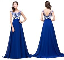 Sexy Backless Chiffon Applique Evening Prom Party Dress Long Homecoming Dress