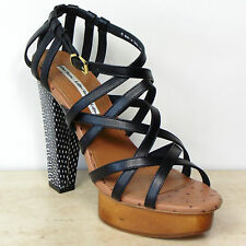New ALL LEATHER High Platform STRAPPY SANDALS by & OTHER STORIES ~ Size 7, BLACK