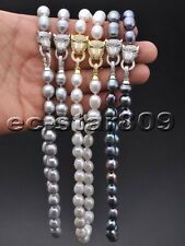 X0478 Set 13mm Rice Freshwater Pearl Necklace & Bracelet CZ Panther