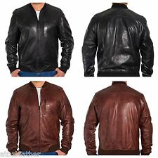 Mens New Black/Brown Leather Fitted Bomber Varsity Jacket with Quilted Shoulders