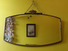 Stunning Original Art Deco Vintage Bevel Edge Mirror - Gold & Red Metal Frame