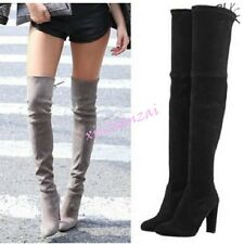 Womens Over The Knee High Block Heel Lace Up Elegant Boots Faux Suede Plus Size