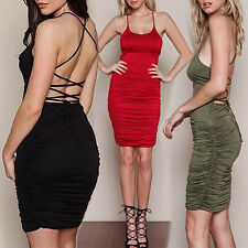 Women's Summer Lace Up Dress Party Pleated Sling Stretch Dress Remarkable