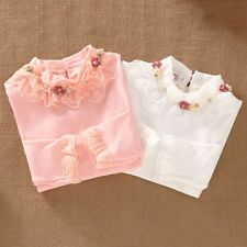 Child Kids Baby Girl Long Sleeve Blouse Tops Floral Lace Collar Autumn T shirts