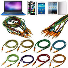 1M/3FT Nylon 3.5mm Male to Male Stereo Audio Aux Cable For PC Phone iPod Car Lot