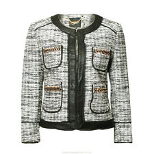 NWT JUICY COUTURE Black Label Black Marled Collarless Blazer Jacket L XL $268