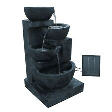 Solar Power Four-Tier Water Fountain Feature w/ LED Light
