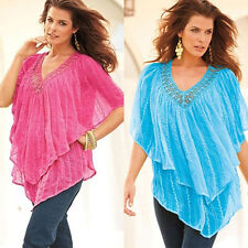 Women's Loose Multi-Layer Short Batwing Sleeve Top Casual Blouse Eager