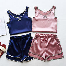 Lolita Sexy women Lady silky strap vest tops+home clothes shorts pajamas 2pcs