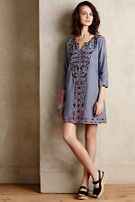 Anthropologie Sayulita Tunic Dress Sz M, Embroidered Chambray, Corey Lynn Calter