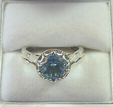4.40ct Blue Topaz & 3.40ct Green Amethyst Solid 925 Sterling Silver Rings