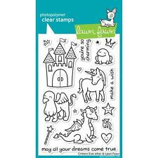 Lawn Fawn CRITTERS EVER AFTER Clear Stamp Set, Dies Fantasy Castle Unicorn Frog