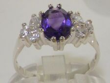 Quality Ladies Solid 925 Sterling Silver Natural Amethyst & 0.36ct Diamond Ring
