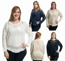 WOMENS LADIES LONG SLEEVE SOFT KNITTED FLORAL DETAIL JUMPER TOP PLUS SIZE 16-26