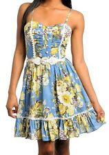 Sexy Blue Floral Belted Button-up Smocked Padded Bust Vtg-y Cleavage Dress New