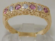 Solid 9K Yellow Gold Natural Pink Tourmaline & Diamond Traditional Eternity Ring