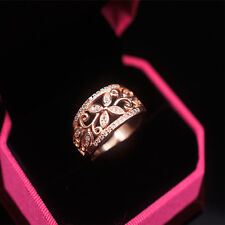 Crystal Fine Solid Rose Gold Plated Engagement Round Flower Hollow Ring