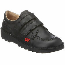Kickers Kick Lo Vel  Black Leather Kids Juniors Back To School Shoes