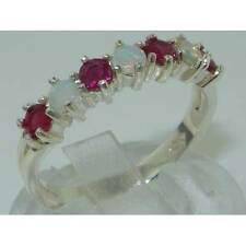 Solid English 925 Hallmarked Sterling Silver Natural Opal & Ruby Eternity Ring