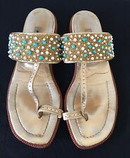 MANOLO BLAHNIK Gold tone Leather Beaded Sandals Sz 36