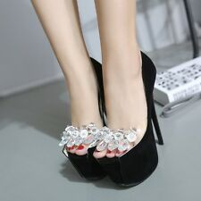 Peep Toe High Heels Platform Crystal Rhinestone Pumps Women Stiletto Party Shoes