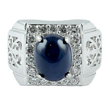 ALLURING! NATURAL 10X8 MM DARK BLUE SAPPHIRE,WHITE-CZ STERLING 925 SILVER RING