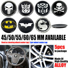 5x Car Truck ATV Tyre Steering Wheel Center Hub Cap Decal Sticker 3D Alloy Cover