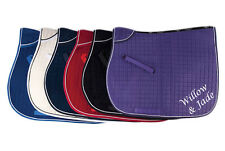 Personalised Embroidered Velvet Saddle Cloth 6 Colours Horse Lovers Gift
