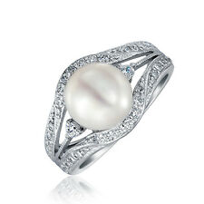 Bling Jewelry 925 Silver Vintage Style Cultured Pearl Engagement Ring 9mm