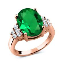 6.12 Ct Green Simulated Emerald White Topaz 18K Rose Gold Plated Silver Ring