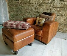 Leather armchair & footstool chesterfield vintage distressed brown cigar club