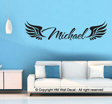 HM Wall Decal Wall Art NEW Personalised Name with Angel Wings Wall Sticker