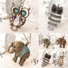 Gothic Retro Vintage Charm Pendant Choker Necklace Jewelry Owl Deer