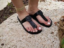 Black Unisex Leather Jesus Sandals Men Women Flip Flops Shoes Thongs Biblical