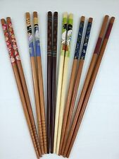 Chopsticks 5 pairs Japanese lady traditional flower wood bamboo pack gift red