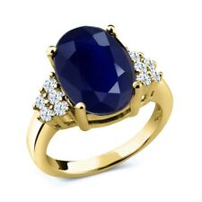 5.40 Ct Oval Blue Sapphire White Created Sapphire 18K Yellow Gold Ring