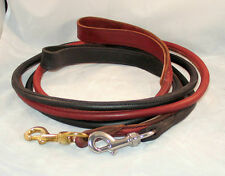 6 foot Rolled Leather Dog Leash Lead Brown/brass Black/Stainless Amish Made