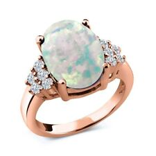4.33 Ct Oval Cabochon White Simulated Opal White Diamond 18K Rose Gold Ring
