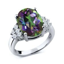 4.40 Ct Oval Green Mystic Quartz White Created Sapphire 925 Sterling Silver Ring