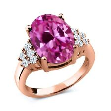 6.40 Ct Oval Pink Created Sapphire White Topaz 18K Rose Gold Plated Silver Ring
