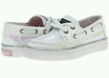 NEW Sperry Top Sider Bahama White Iridescent Boat/Deck/Dress Shoe Sequin Child