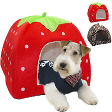 Soft Foldable Strawberry Dog Cat House Kennel Soft Doggy Igloo Bed Cushion