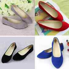 Womens Ballet Low Flats Shoes Loafers Slip On Slipper Pointed Toe Plain