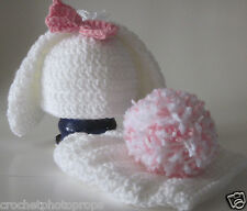 Easter bunny hat, diaper cover, pom pom tail photo prop set Newborn to 6 months