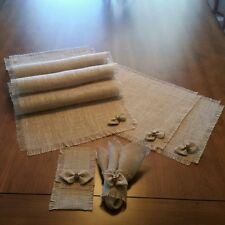 Burlap Table Runners Placemats Napkin Rings & Silverware Holders w/BowTie Accent