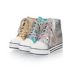 Spring Womens High Top Sequins Bling Bling Lace Up Plimsoll Sneakers Fur Shoes